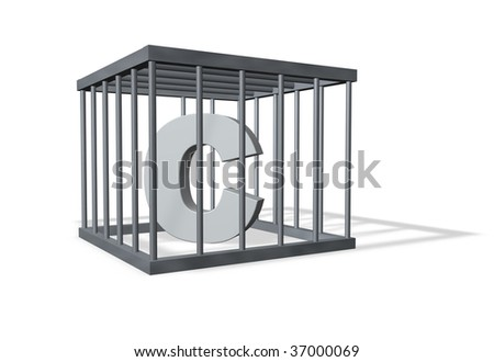 letter c in a cage on white background - 3d illustration - stock photo