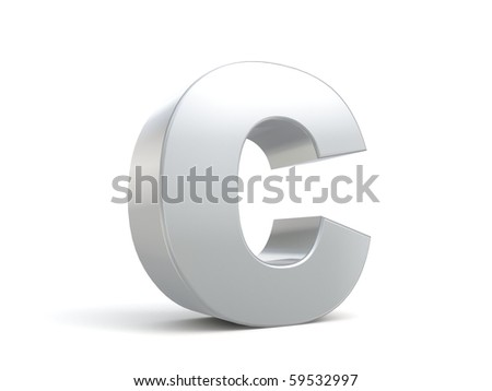 letter C in metal - stock photo