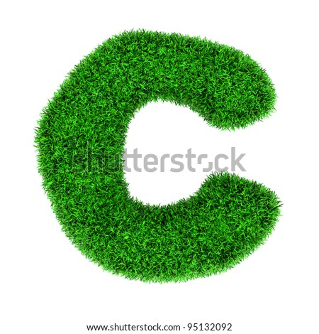 Letter C, made of grass isolated on white background. - stock photo