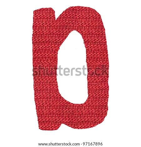 letter D alphabet, knitted spokes structure - stock photo