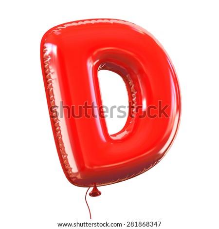 letter D balloon font - stock photo