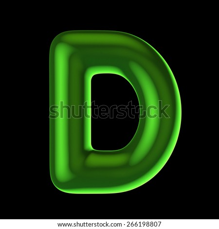 Letter D from round green back light alphabet. There is a clipping path - stock photo