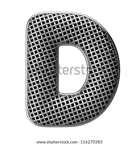Letter D from round microphone style alphabet. There is a clipping path - stock photo