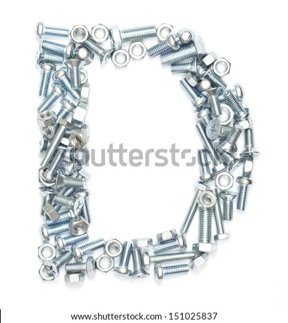 Letter D made of screws on white background   - stock photo