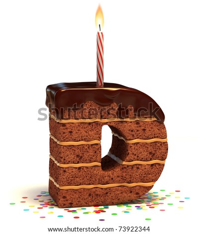 "letter ""D"" shaped chocolate birthday cake with lit candle and confetti isolated over white background - stock photo"