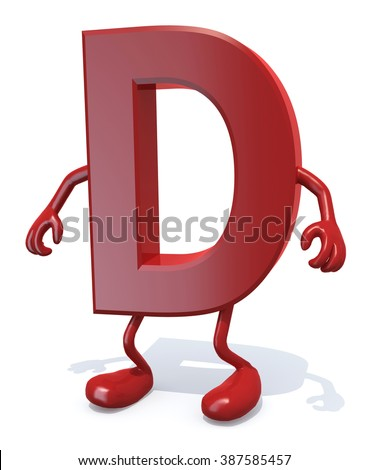 letter D with arms and legs posing, isolated on white 3d illustration - stock photo