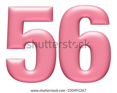Letter digit 5 & 6 isolated on white background  - stock photo