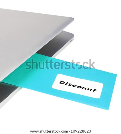 Letter DISCOUNT flying out of modern laptop - stock photo