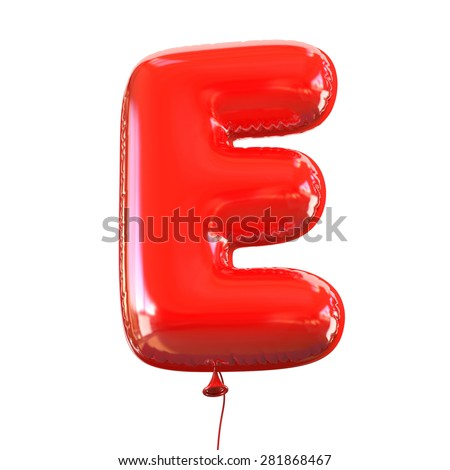 letter E balloon font - stock photo