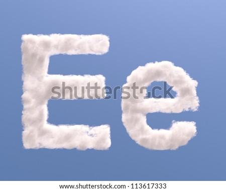 Letter E cloud shape, isolated on white background - stock photo