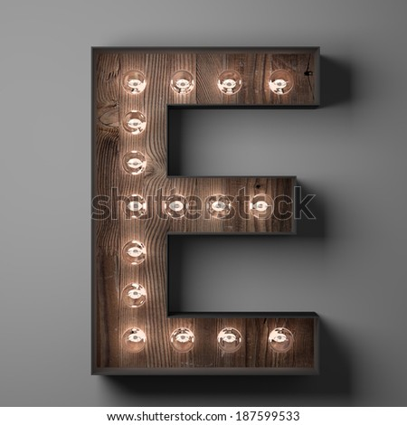 Letter E for sign with light bulbs - stock photo