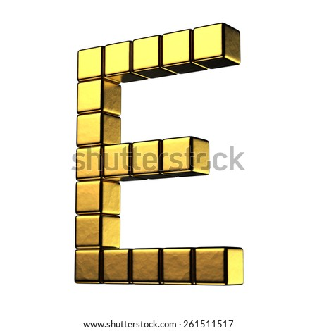 Letter E from big cube gold perspective alphabet. There is a clipping path - stock photo
