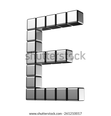 Letter E from digital cube middle perspective alphabet. There is a clipping path - stock photo