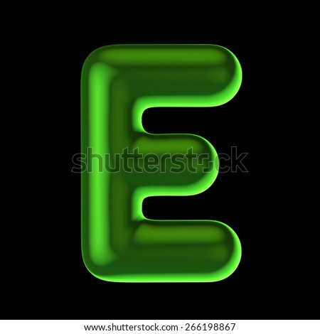 Letter E from round green back light alphabet. There is a clipping path - stock photo