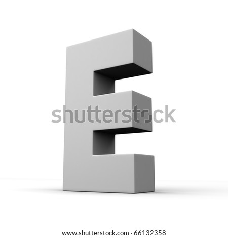 Letter E from solid alphabet. There is a clipping path - stock photo