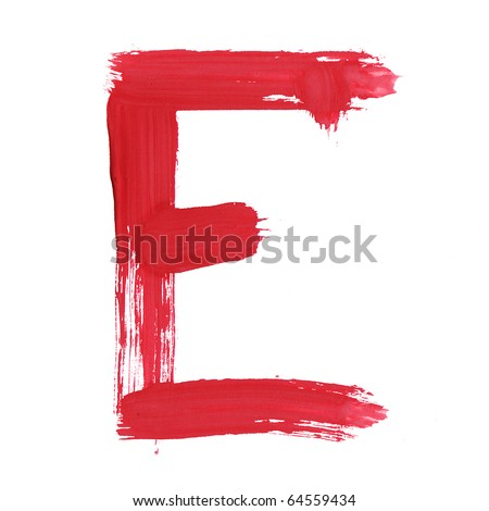 Letter E handwritten paint stroke sketch. Red Isolated on white background. One from collection set. - stock photo