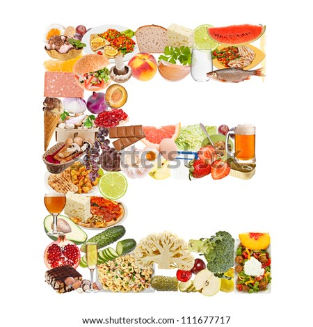 Letter E made of food isolated on white background - stock photo
