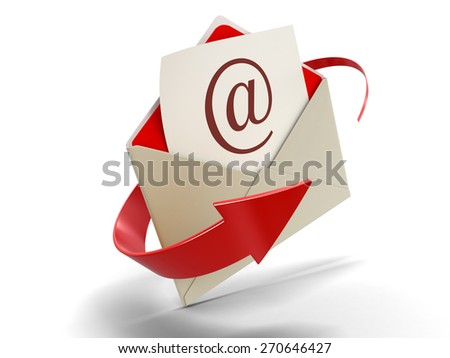 Letter E-mail (clipping path included) - stock photo