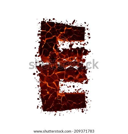 Letter E. Red burning fire alphabet isolated on white background. - stock photo