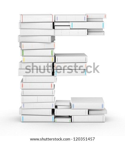 Letter E, stacked from many blank title books in column - stock photo