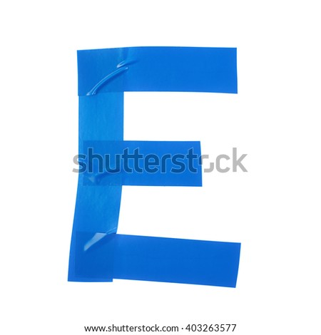 Letter E symbol made of insulating tape pieces, isolated over the white background - stock photo