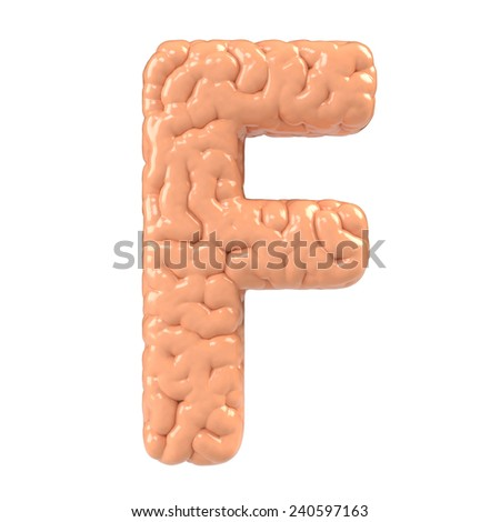 Letter F. Brain alphabet isolated on white background.Brain font.  - stock photo