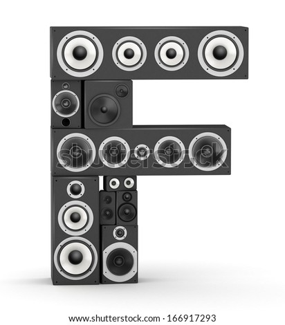Letter F from black hi-fi speakers sound systems - stock photo