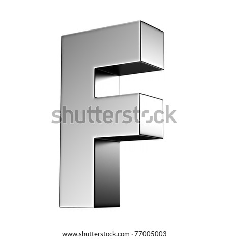 Letter F from chrome solid alphabet. There is a clipping path - stock photo