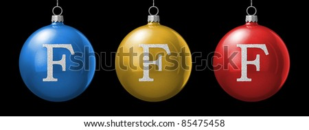 Letter F from cristmas ball alphabet. There is a clipping path - stock photo