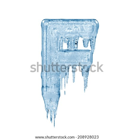 Letter F. Ice font isolated on white background. Alphabet. - stock photo