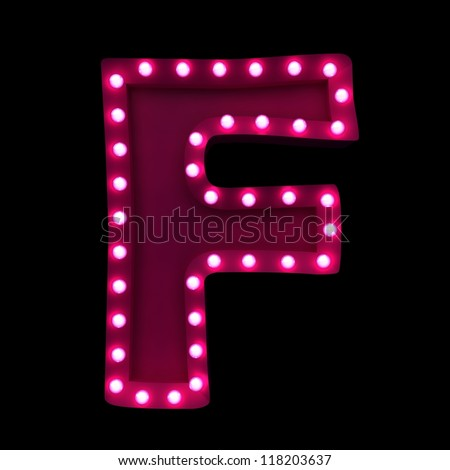 letter F with neon lights isolated on black background - stock photo