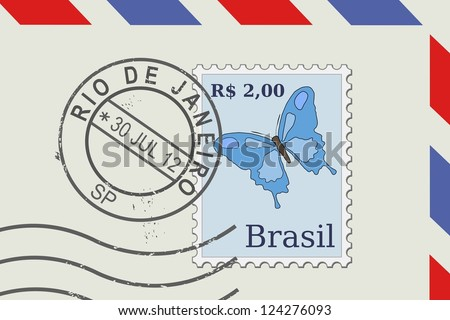 Letter from Brazil - postage stamp and post mark from Rio De Janeiro. Brazilian mail. - stock photo