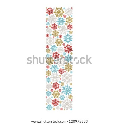 """Letter from varicolored snowflakes. Letter """"I"""" - stock photo"""