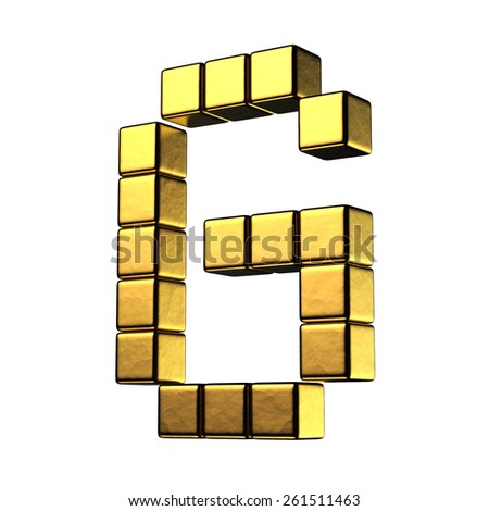 Letter G from big cube gold perspective alphabet. There is a clipping path - stock photo