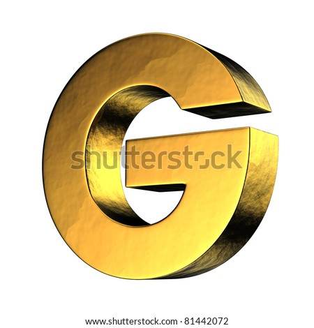 Letter G from gold solid alphabet. There is a clipping path - stock photo