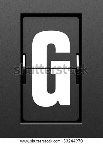 Letter G from mechanical scoreboard alphabet - stock photo