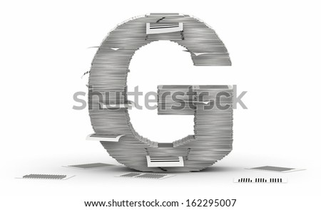 Letter G, from stacks of paper pages font - stock photo