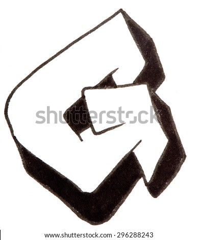 Letter G, hand drawn alphabet in graffiti style with a black fiber tip pen - stock photo