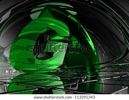 letter g in abstract futuristic space - 3d illustration - stock photo