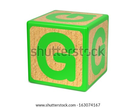Letter G on Green Wooden Childrens Alphabet Block  Isolated on White. Educational Concept. - stock photo
