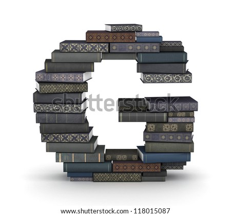 Letter G, stacked from many  books in pile - stock photo