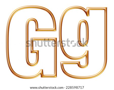 Letter G with golden glossy outline on isolated white. - stock photo