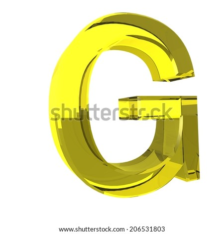 Letter G - Yellow Glass Alphabet - stock photo