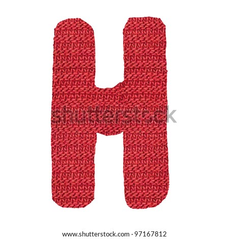 letter H alphabet, knitted spokes structure - stock photo