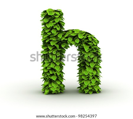 Letter  h, alphabet of green leaves, small caps - stock photo