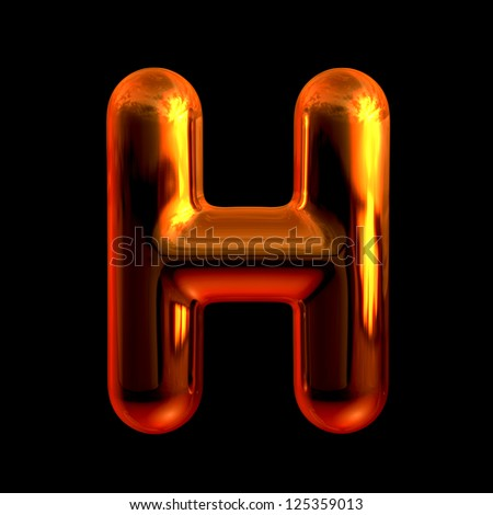 Letter H from chrome orange sunset alphabet. There is a clipping path - stock photo