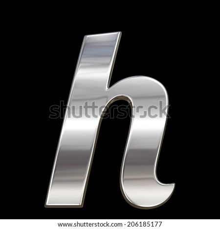 Letter h from chrome solid alphabet isolated on black, lowercase.  - stock photo
