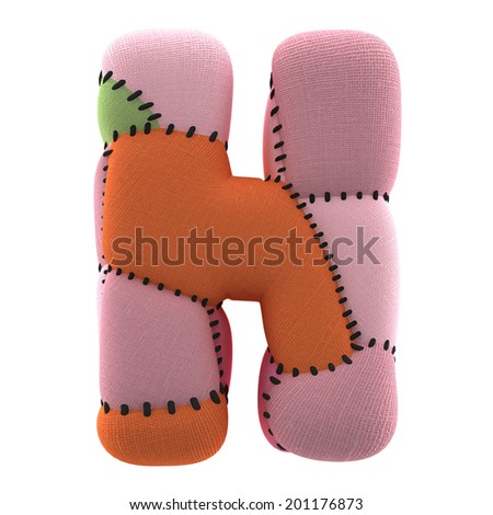 Letter H. Textile toy font  isolated on White Background. - stock photo