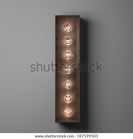 Letter I for sign with light bulbs - stock photo