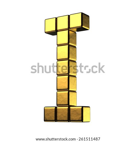 Letter I from big cube gold perspective alphabet. There is a clipping path - stock photo